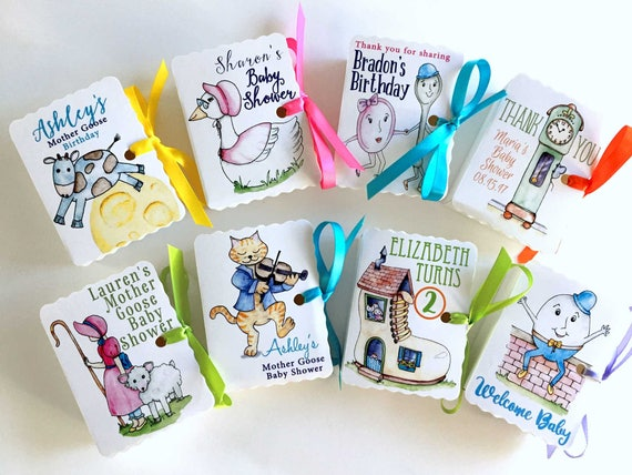 Personalized Mother Goose Party Favors | 20 Nursery Rhyme Boxes for Boy Girl Birthdays and Baby Showers