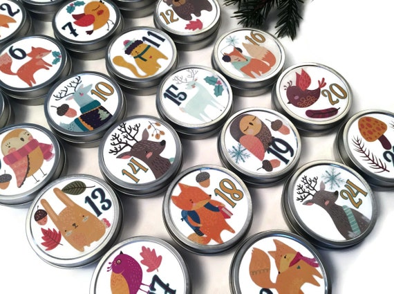 Winter Folk Animals Advent Calendar Tins | Bright Colorful Magnetic Christmas Countdown Kit | Contemporary 2.5 inch Keepsake Kids Christmas