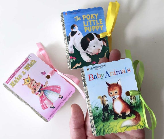 Little Golden Books Favor Boxes | Boy Girl Birthday Party | 10 Baby Shower | Poky Puppy Animals Wish Plane Fairy | Personalized