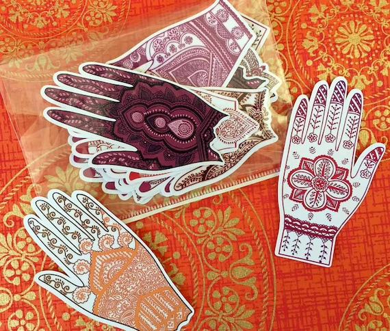 "Henna Hand Mehndi Tattoo Stickers Seals 3"" Labels 