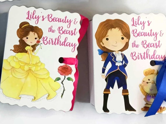 Beauty and the Beast Party Favors | 12 Personalized Belle Prince Mrs Potts Favors | Boy Girl Baby Shower | Book Theme Party l Girl Birthday