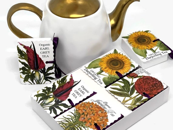 Organic Tea Botanical Prints Gift | 4 Tea Blends/8 Tea Pouches | Gardener Gift | Gifts Under 20 | Gift for Mom | Get Well Friend Tea Lover