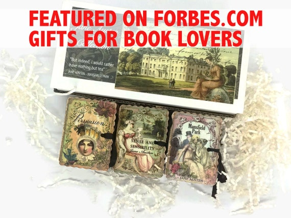 JANE AUSTEN Literary Tea Gift | Organic Tea Pouches Mini Books Boxed Set | Persuasion Emma Northanger Abbey Pride & Prejudice Mansfield Park