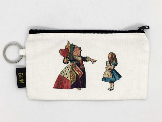 Alice in Wonderland and Red Queen Zip Cosmetic Bag | Zippered Makeup Bag | Zip Pencil Case | Gifts Under 15 | Zipper Pouch CLOSEOUT SALE