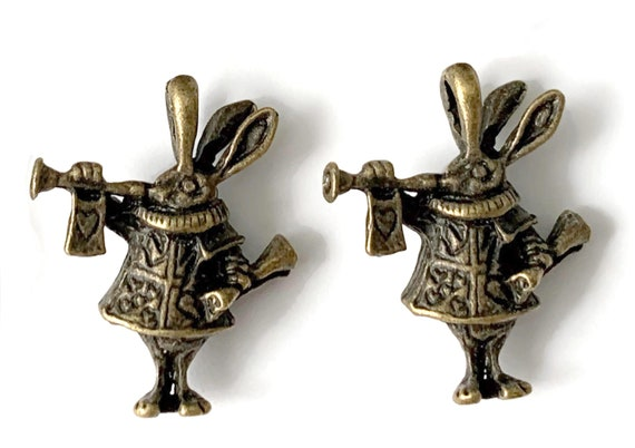 2 Alice in Wonderland Rabbit Vintage Brass 3D Charms   Mad Hatter Tea Party Charms   Favor Making Supplies