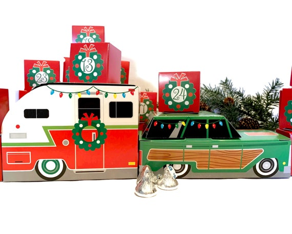 Retro Car & Camper Christmas Advent Calendar | 24 Cube Boxes + Vintage Trailer and  Station Wagon Automobile | Urban Chic Country Cottage