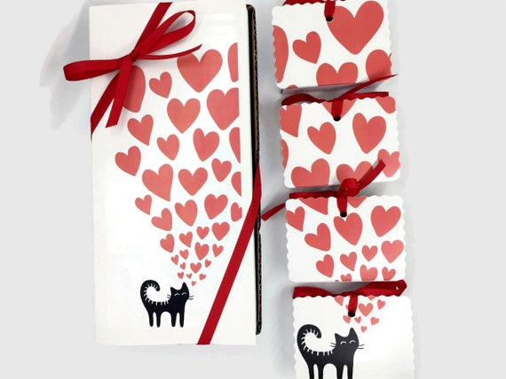 Valentines Day Cat Tea Boxed Gift | Organic Tea Mini Books | Cat Lover Tea Valentine Gift | 6 Boxes with 12 Organic Tea Pouches FAST SHIP