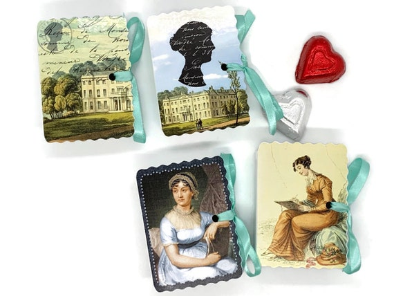 Jane Austen Party Favors | 12 Personalized Miniature Book Boxes | Birthday | Bridal Shower Tea Party | Book Themed Party | Literary Tea