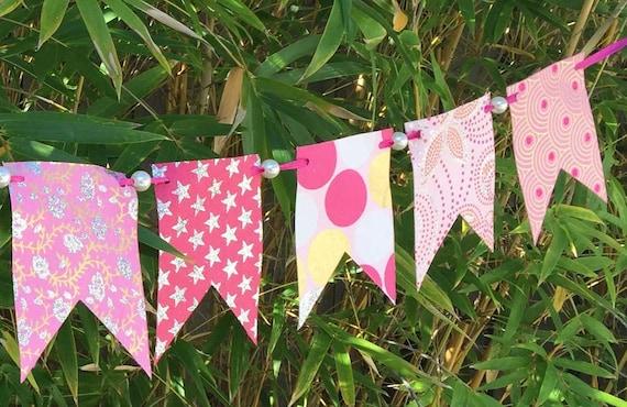 Pink Garland Banner Paper Pearls Bunting Glitter | Wedding Shower | Baby Girl Shower | Birthday Decoration Decor | Fun Summer Spring SALE