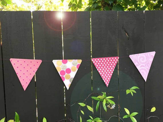 Pink Glittery Paper Triangle Garland Banner Bunting | Modern Wedding Bridal Shower Birthday Decor | Hot Pink Dots Glitter Photo Prop Flags