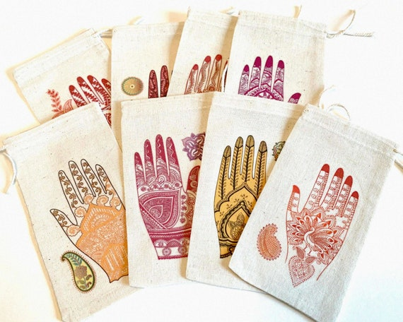RESERVED 8 Mehndi Ceremony Bridal Shower Favor Bags 3x5 | South Asian Indian Wedding CLOSEOUT SALE