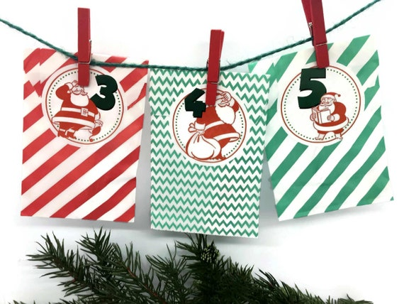 Retro Santa Christmas Advent Calendar Paper Bags Kit w Personalized Stickers Twine & Mini Clothes Pins | Mid Century Modern MCM Red Green