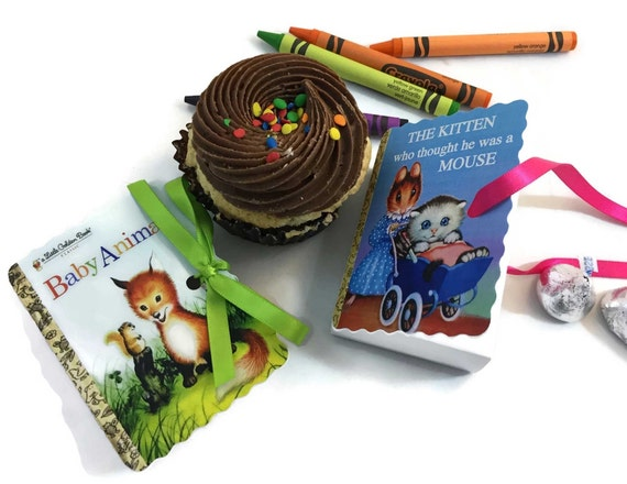 Little Golden Books Mini Book Party Favors | 25 Birthday Boy Girl Baby Shower Book Theme Boxes | Poky Puppy Animal Plane Fairy | Personalize