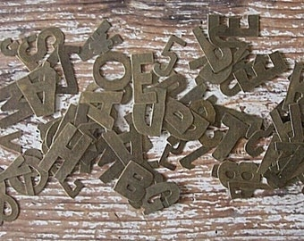 DESTASH - We R Memory Keepers Metal Letters & Some Numbers, Antique Brass Color, Thin Metal Letters - NOT Complete Alphabet
