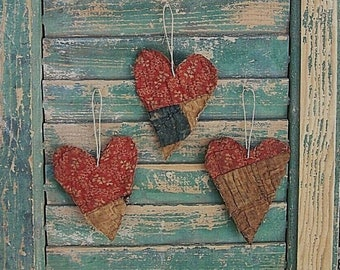 3 SMALL Tattered Heart Ornaments, Antique Quilt Christmas Ornaments, Farmhouse Decor, Red White Floral Blue - READY to SHIP