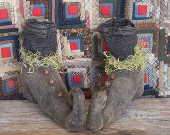 Primitive Witch Shoes Boots with Striped Stockings, Rustic Farmhouse Halloween Decor, Fall Centerpiece - READY TO SHIP