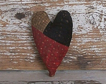 Primitive Heart Ornament, Antique Quilt, Christmas Ornament, Rustic Farmhouse Tiered Tray Decor, Heart Bowl Filler Polkadots - READY TO SHIP