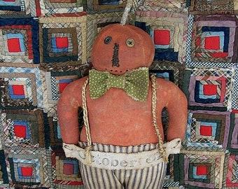 Primitive Pumpkin Doll, Rustic Orange Boy JOL Halloween Decor, Autumn Fall Farmhouse Decor, Ticking Pants Polkadot Bow Tie - READY to SHIP