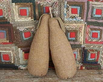 Primitive Pears - set of 2, Rag Stuffed Wool Fruit, Rustic Farmhouse, Tiered Tray Harvest Decor Centerpiece - READY TO SHIP