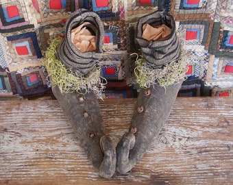 Primitive Witch Shoes or Boots with Grey & Black Striped Stockings, Rustic Farmhouse Halloween Decor - AS IS - Ready to Ship