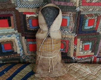 Primitive Black Doll, Black Prairie Doll, Primitive Prairie Doll, Autumn Fall Home Decor Indoor, Mustard Homespun Dress - READY TO SHIP