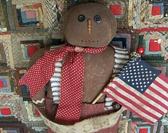 Primitive Gingerbread Doll, Rustic Primitive Doll, Country Primitive Gingerbread Decor, Really Handmade Christmas Doll - READY TO SHIP
