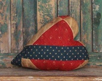 Heart Pillow, Antique Quilt, Rustic Farmhouse Decor, Primitive Heart, Americana Valentine, Zakka Style, Red White Blues - READY TO SHIP!
