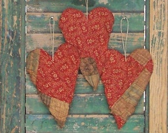 3 Rustic Heart Ornaments, Patchwork Hearts, Primitive Hearts, Antique Quilt Tattered Hearts, Red & White Floral Hearts - READY TO SHIP