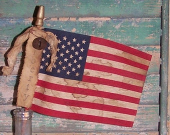 American Flag - LIBERTY Rustic Americana Decor Americana Farmhouse Style Parade Flag Primitive Flag Stick Flag, Handmade, READY to SHIP