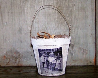 Rustic Basket with Vintage 4th of July Americana Parade Photograph, Primitive Country Farmhouse Decor - READY TO SHIP