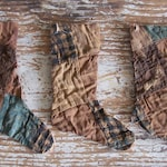 3 Primitive Stocking Ornaments made from Antique Quilt, VERY WORN, Blue Brown Faded Red - Ready to Ship