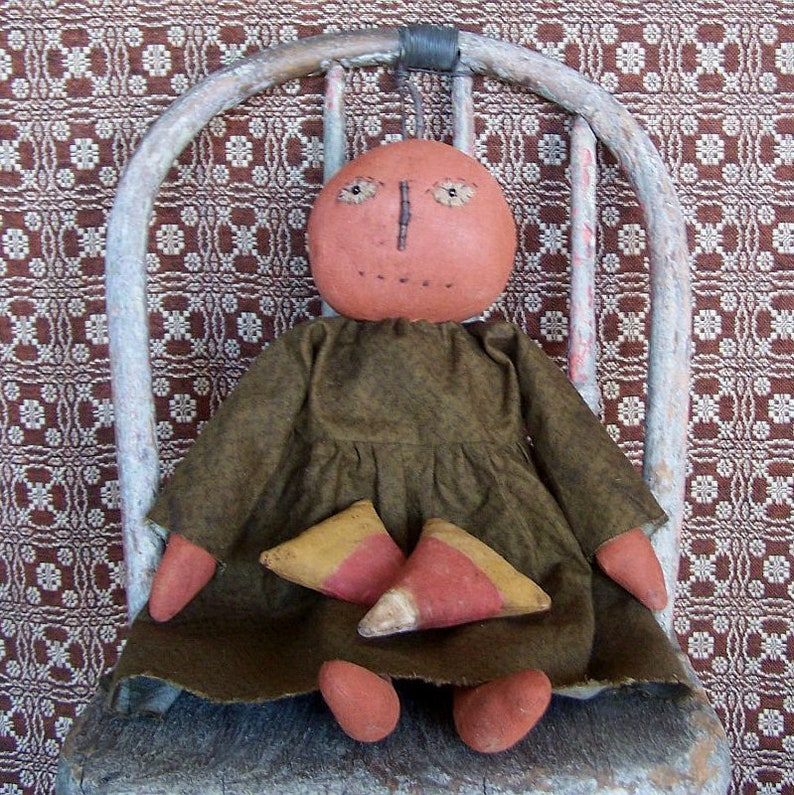 Primitive Pumpkin Doll with optional Candy Corn Rustic image 0