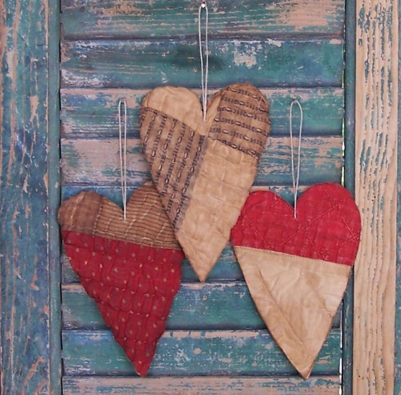 3 Antique Quilt Heart Christmas Ornaments Tattered Hearts image 0
