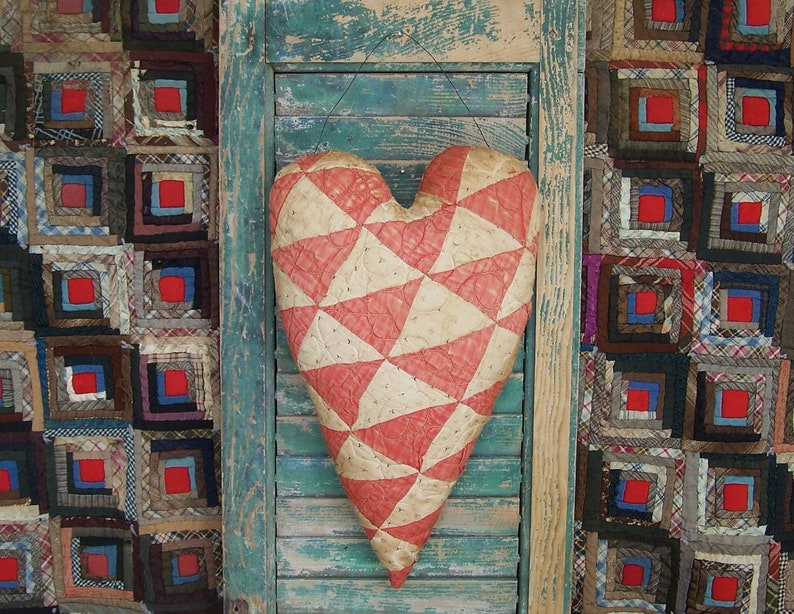Primitive Christmas Heart Rustic Door Hanger made from Red image 0