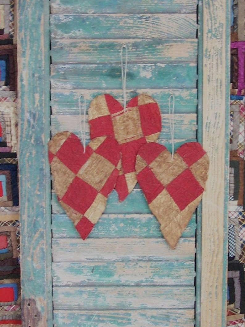 3 Rustic Tattered Heart Ornaments Primitive Antique Quilt image 0