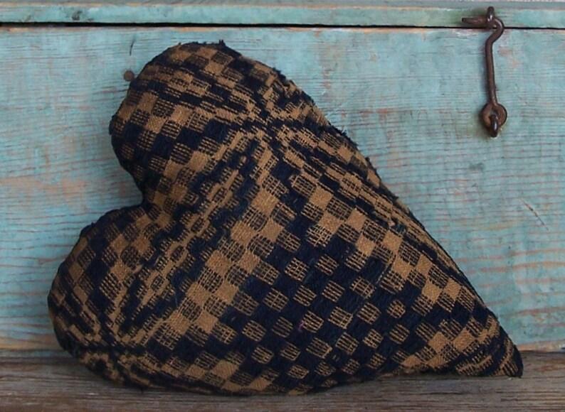 Primitive Antique Coverlet Heart Pillow Rustic Farmhouse image 0