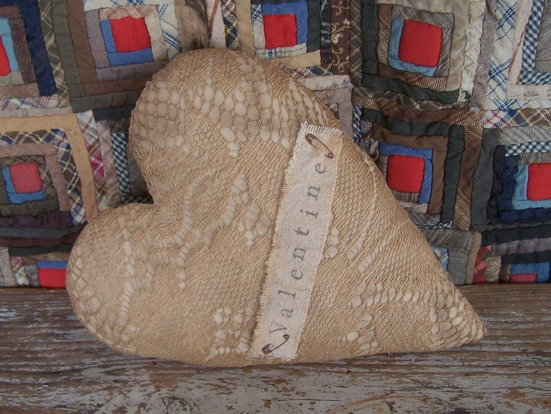 Rustic Heart Pillow made from Vintage Lace Curtain VALENTINE image 0