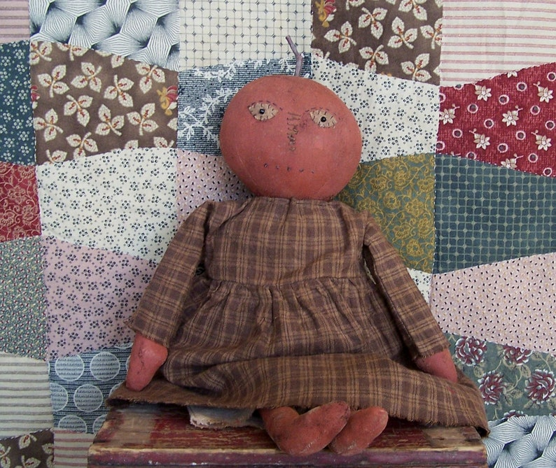 Primitive Pumpkin Doll in Brown Homespun Dress Rustic image 0