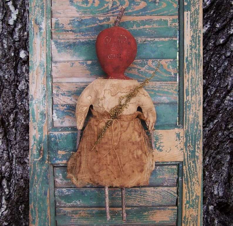 Extreme Primitive Pumpkin Doll Rustic Country Halloween Decor image 0