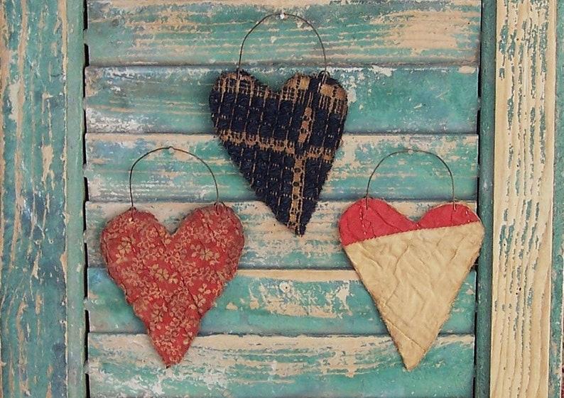 3 Primitive Heart Ornaments Farmhouse Tattered Hearts made image 0
