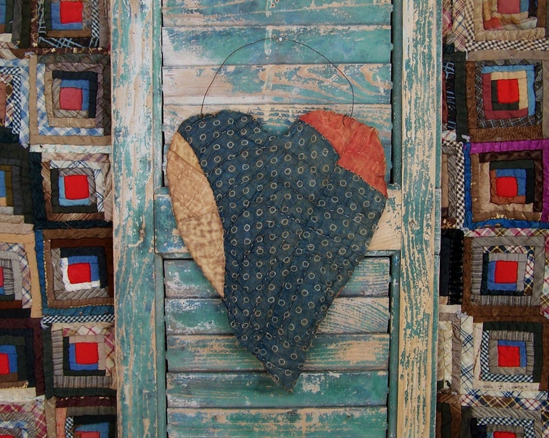 LARGE Tattered Heart Hanger made from Antique Quilt Rustic image 0