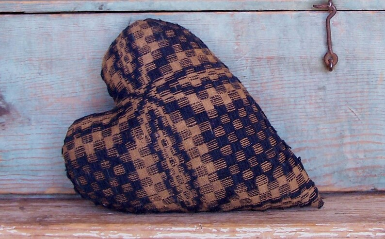 Primitive Heart Pillow made from Antique Coverlet Rustic image 0