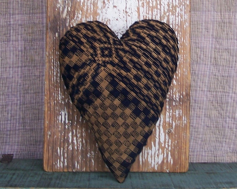 Primitive Heart Pillow made from Antique Coverlet Rustic Home image 0