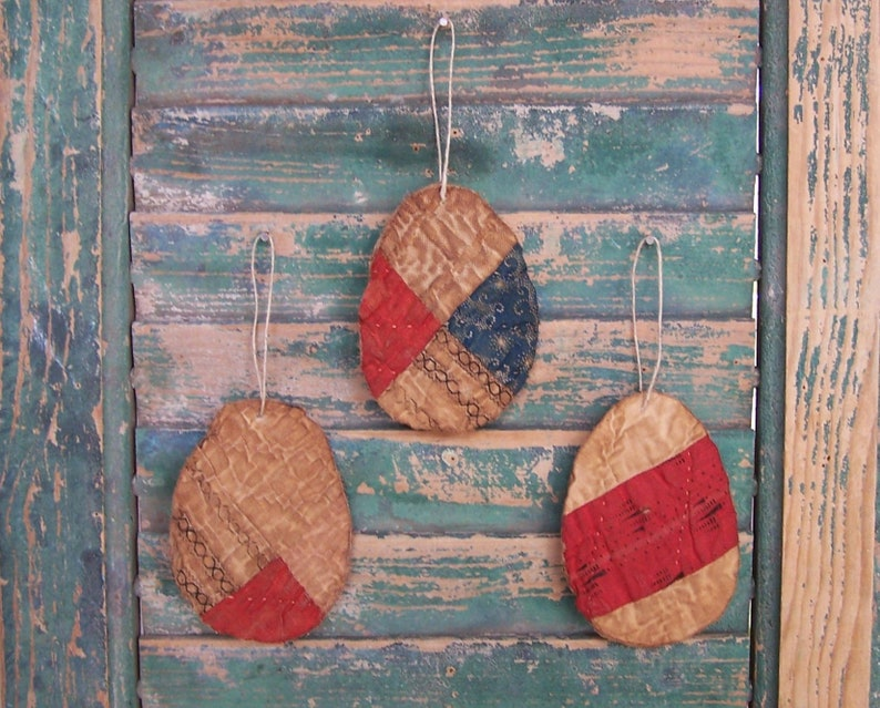 3 Small Primitive Tattered Egg Ornaments made from Antique image 0