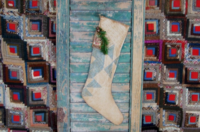 Antique Quilt Christmas Stocking with Vintage Santa Hangtag image 0