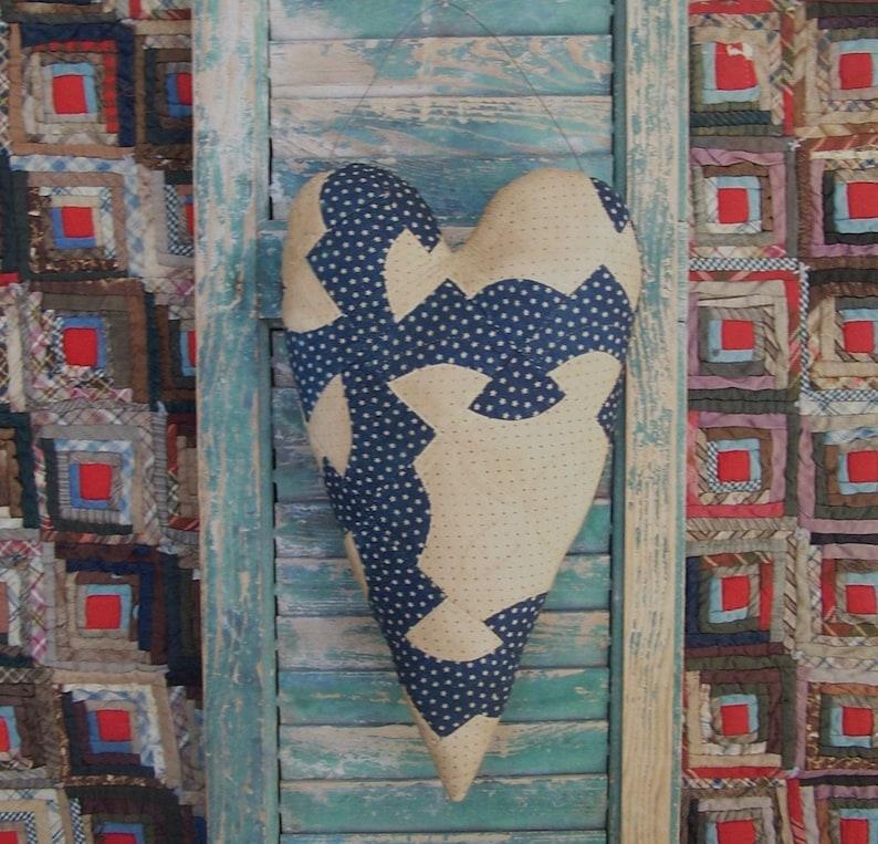 Rustic Heart Primitive Door Hanger made from Antique Quilt image 0