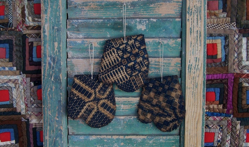 3 Mitten Shape Primitive Christmas Ornaments made from Antique image 0