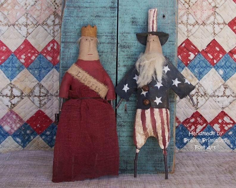 Primitive Uncle Sam and Miss Liberty Doll Set 4th of July image 0