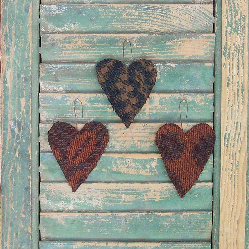 3 SMALL Tattered Primitive Heart Ornaments made from Antique image 0