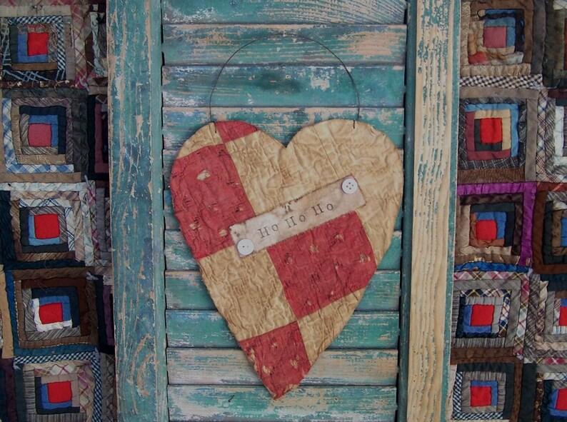 Rustic Tattered Heart Hanger  Ho Ho Ho Red & White Antique image 0